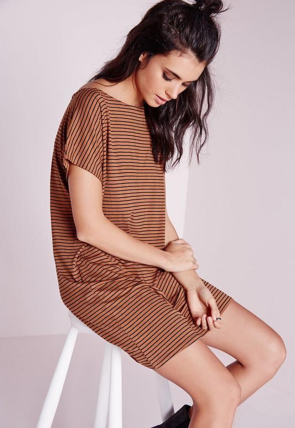 Oversized Stripe T-Shirt Dress Tan