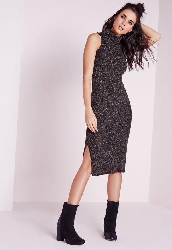 Sleeveless Roll Neck Midi Dress Grey Marl