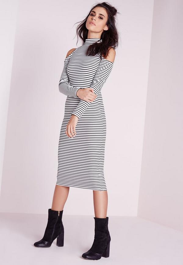 Cold Shoulder Stripe Bodycon Midi Dress Black/White