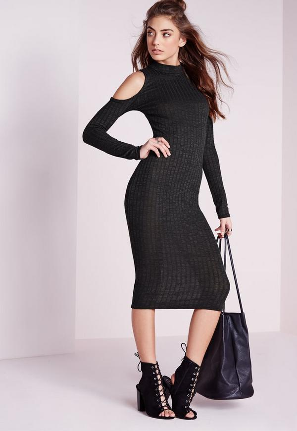 Cold Shoulder Ribbed Midi Bodycon Dress Dark Grey
