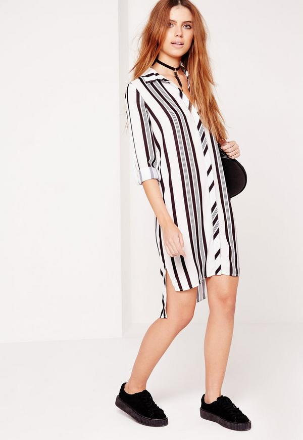 Long Sleeve Midi Shirt Dress Black/White Stripe