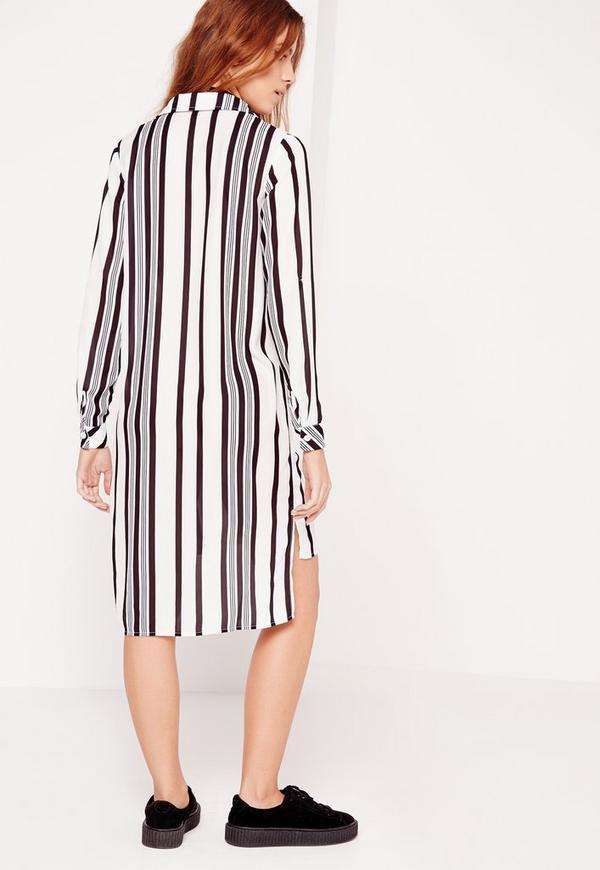 Long sleeve midi shirt dress black white stripe missguided for Midi shirt dress black