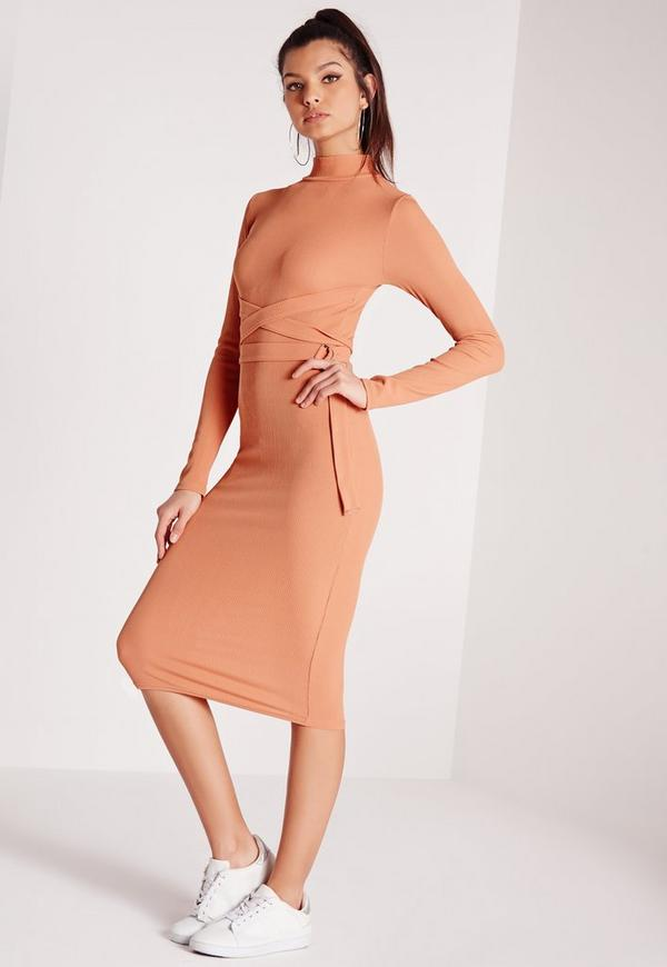 High Neck Belted Ribbed Midi Dress Pink