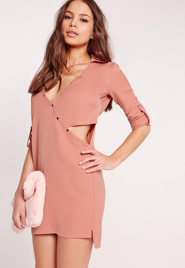 Crossover Cut Out Shirt Dress Pale Pink