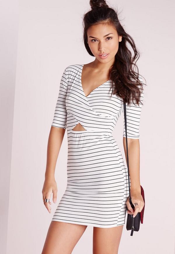 Cross Front Cut Out Bodycon Dress White Stripe