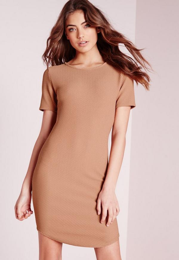 Curve Hem Waffle Texture Bodycon Dress Tan