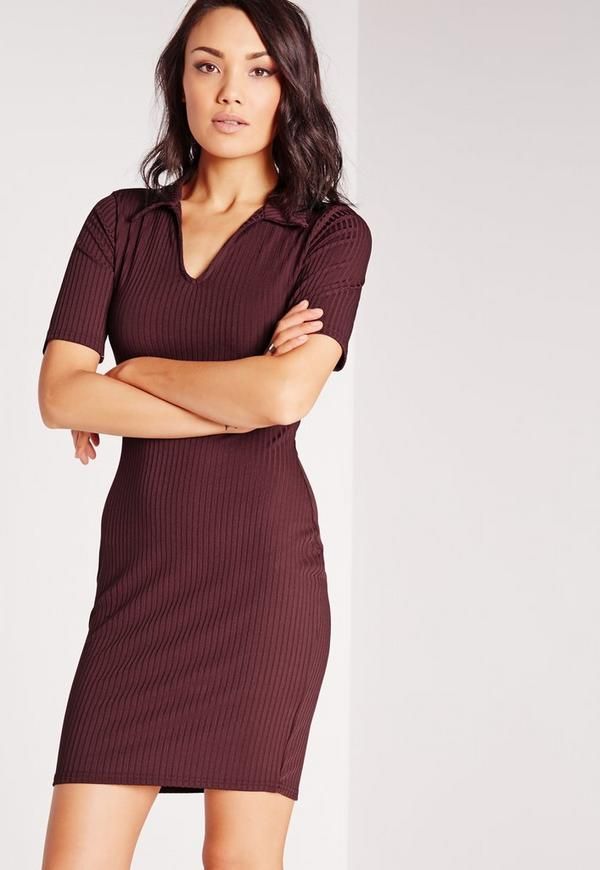 Plunge Polo Shirt Bodycon Dress Burgundy