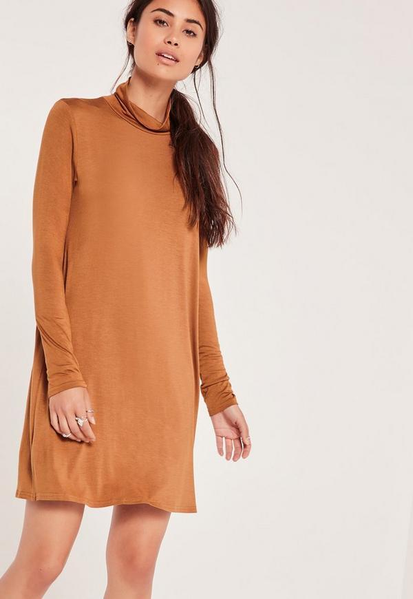 Roll Neck Jersey Swing Dress Camel