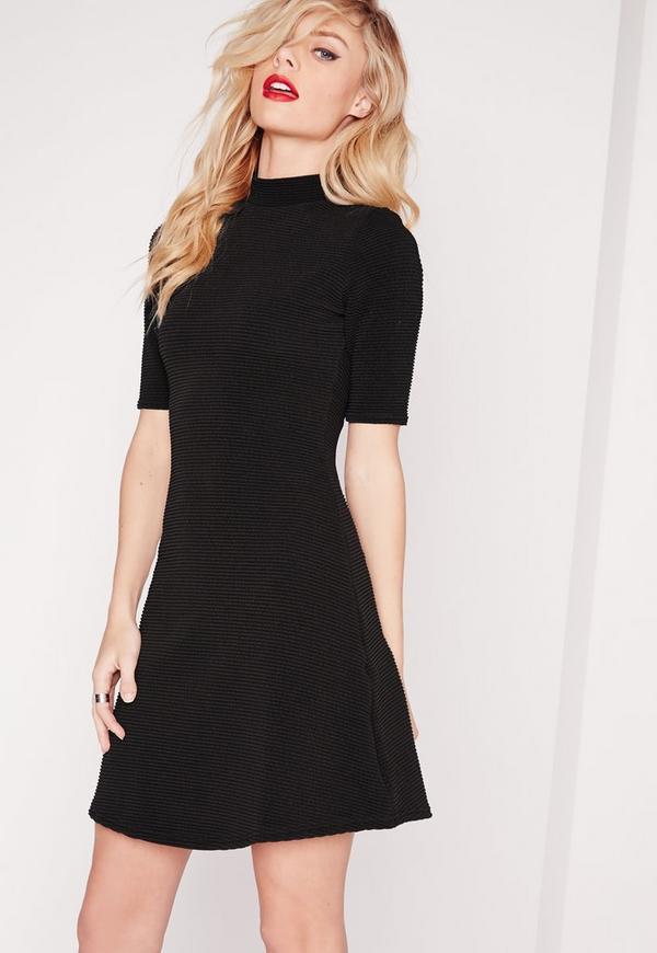 Ribbed A-Line Skater Dress Black
