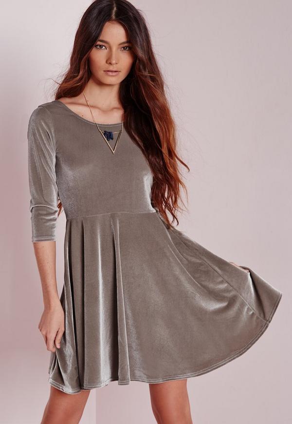 3/4 Sleeve Velvet Skater Dress Grey