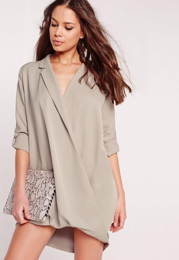 Slouch Wrap Shirt Shift Dress Ice Grey