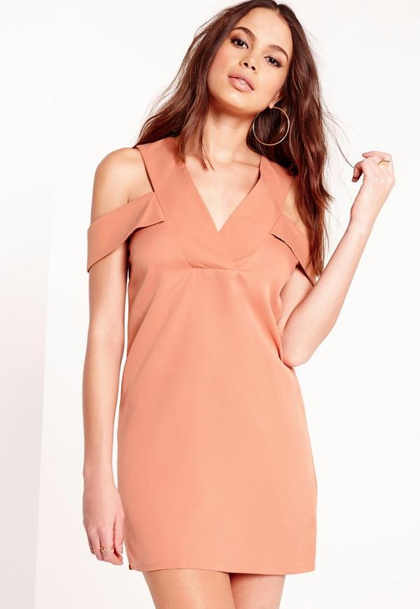 V-Neck Shoulder Band Shift Dress Blush