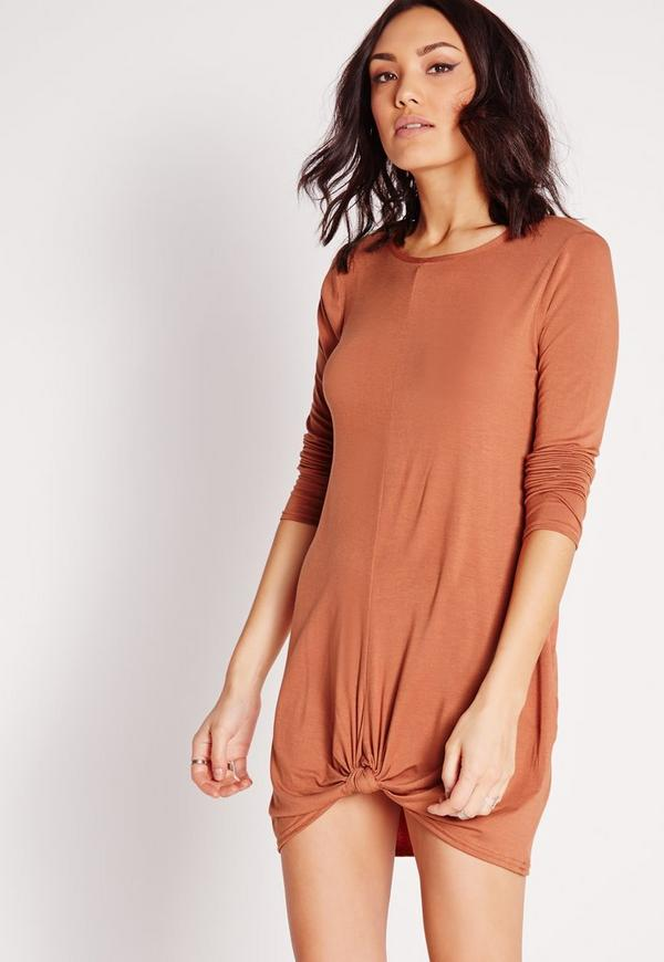 Knot Front Long Sleeve Dress Brown