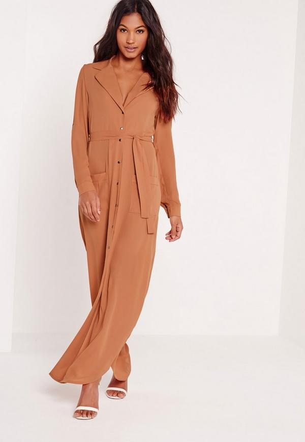 Wrap Around Maxi Shirt Dress Tan - Missguided