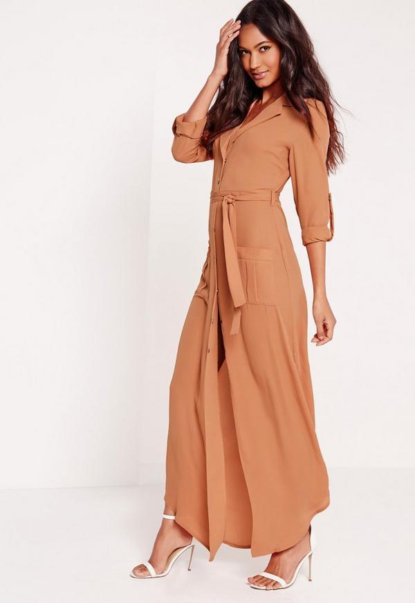 Wrap Around Maxi Shirt Dress Tan Missguided