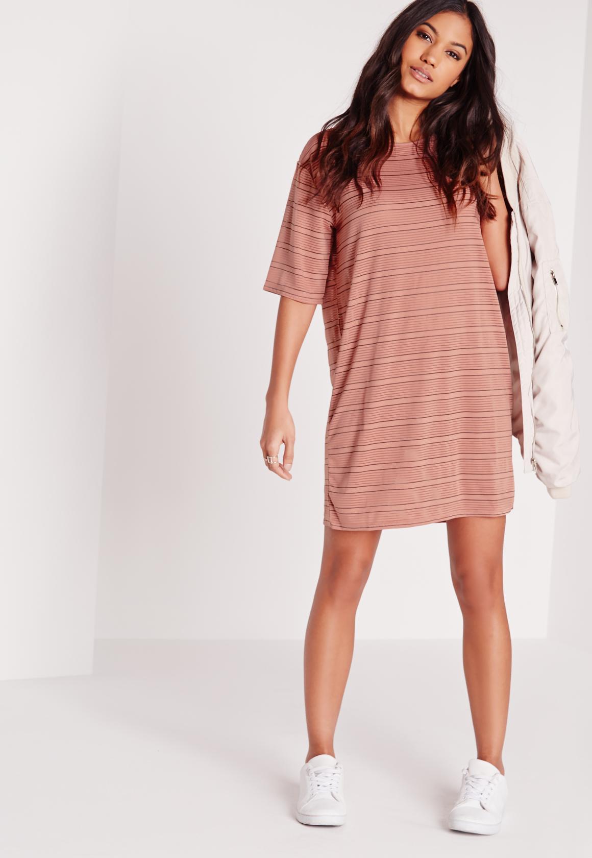 Oversized Sheer Stripe T-Shirt Dress Rose/Black   Missguided