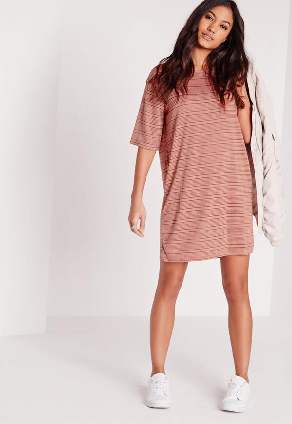 Oversized Sheer Stripe T-Shirt Dress Rose/Black
