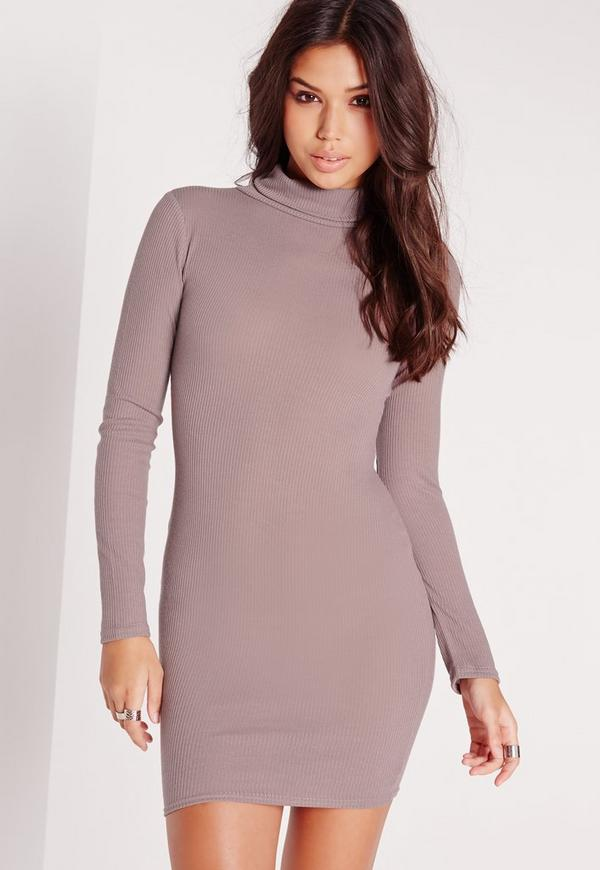 Roll Neck Long Sleeve Ribbed Dress Mauve
