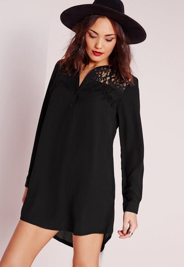 Long Sleeve Lace Detail Shirt Dress Black