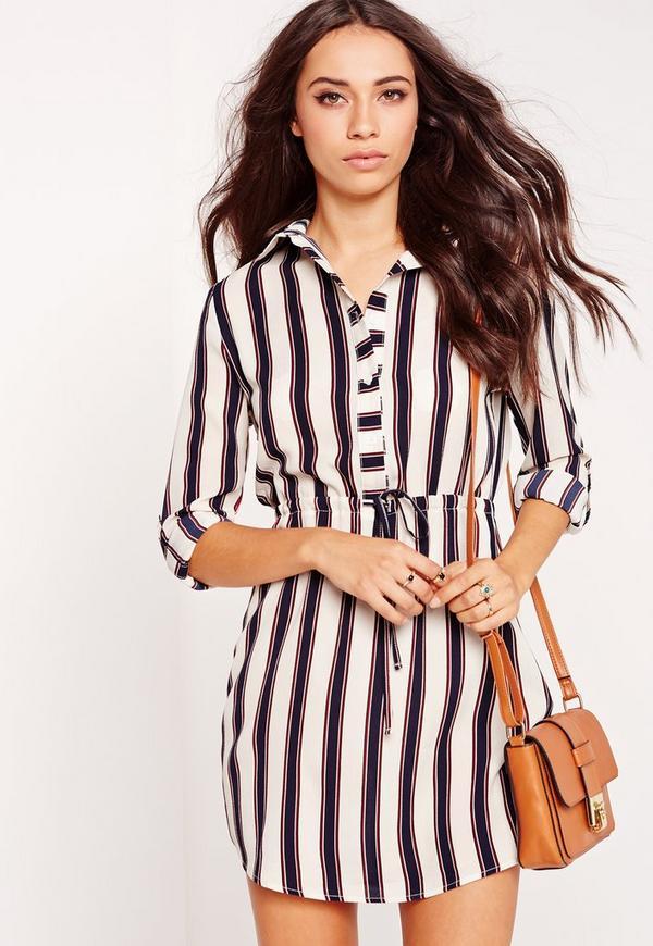Tie Waist Shirt Dress Stripe Navy/Red