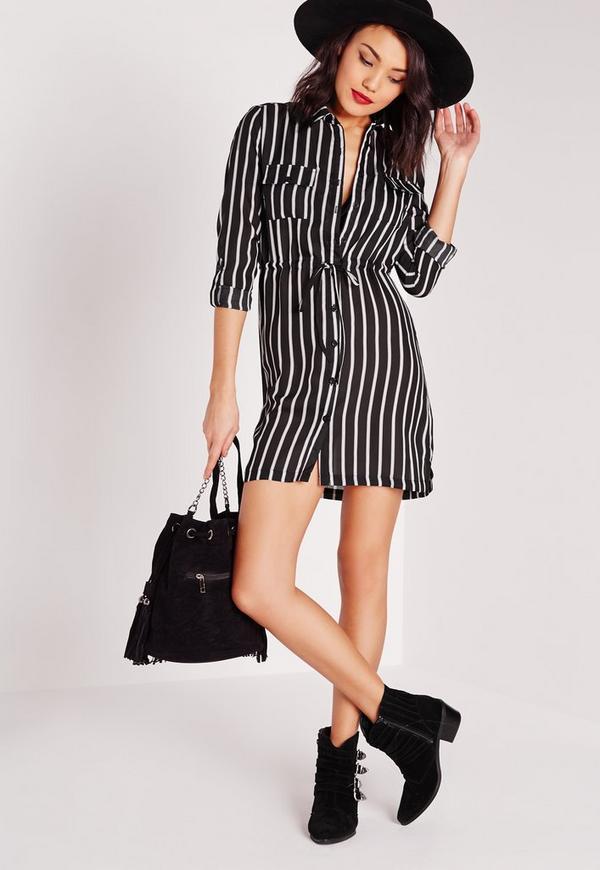 Tie Waist Printed Shirt Dress Black/White Stripe