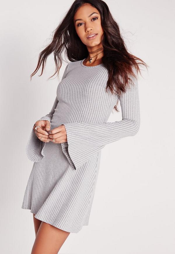Flared Sleeve Ribbed Swing Dress Grey