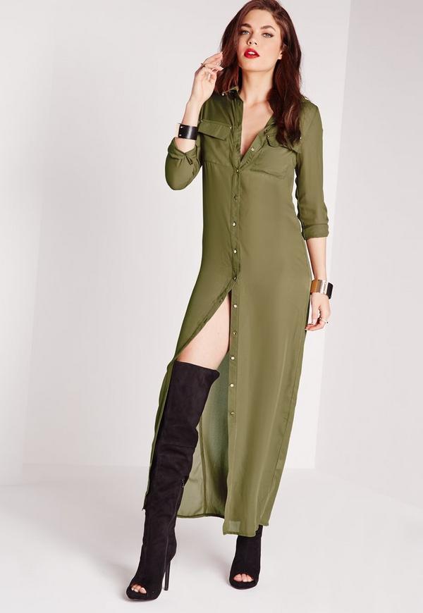 robe chemise longue vert kaki missguided. Black Bedroom Furniture Sets. Home Design Ideas