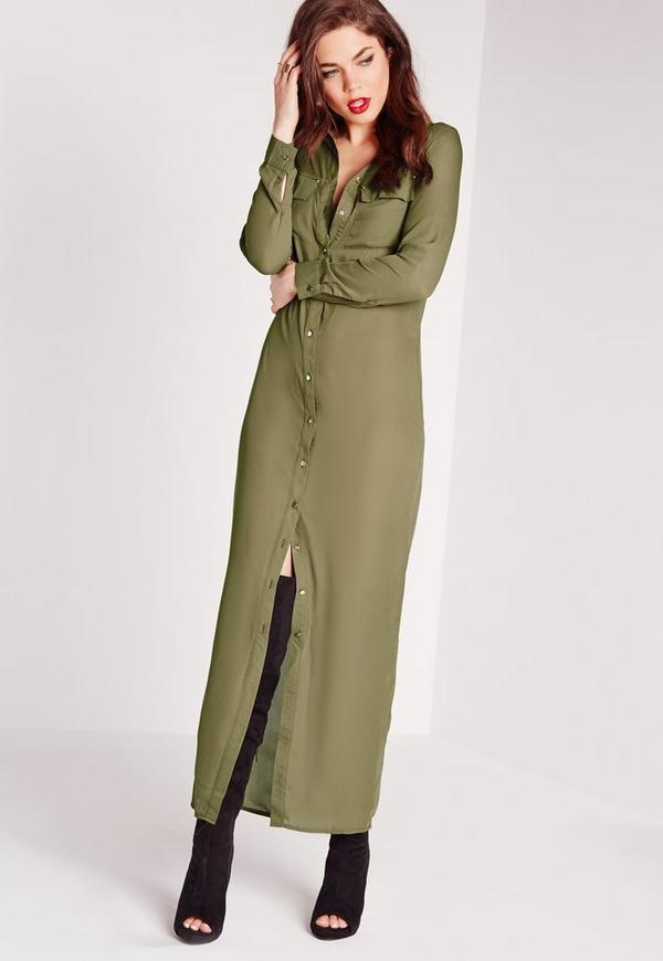 Maxi Length Long Sleeve Shirt Dress Khaki - Missguided