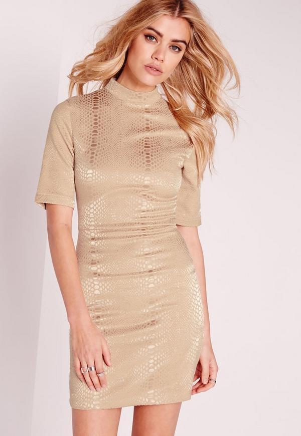 High Neck Croc Shimmer Bodycon Dress Gold