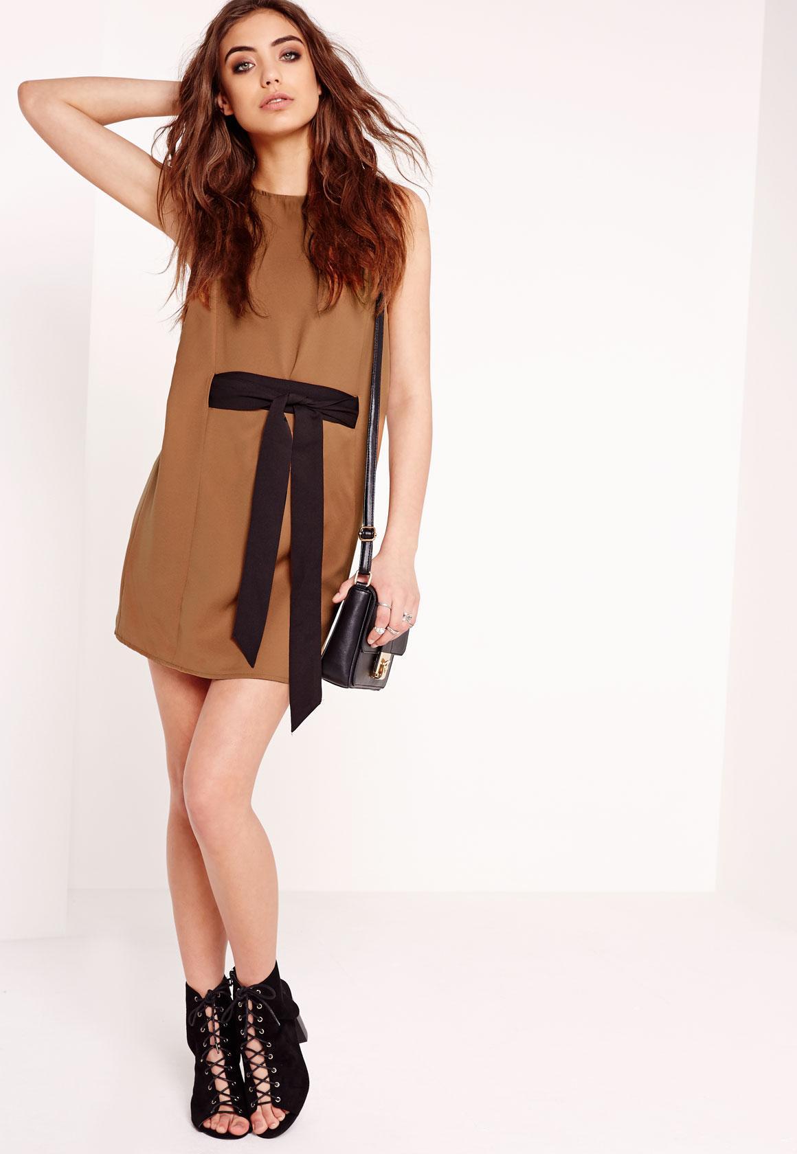 Robe droite marron