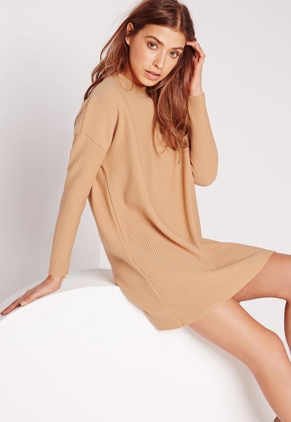 Slouchy Rib Sweater Dress Camel