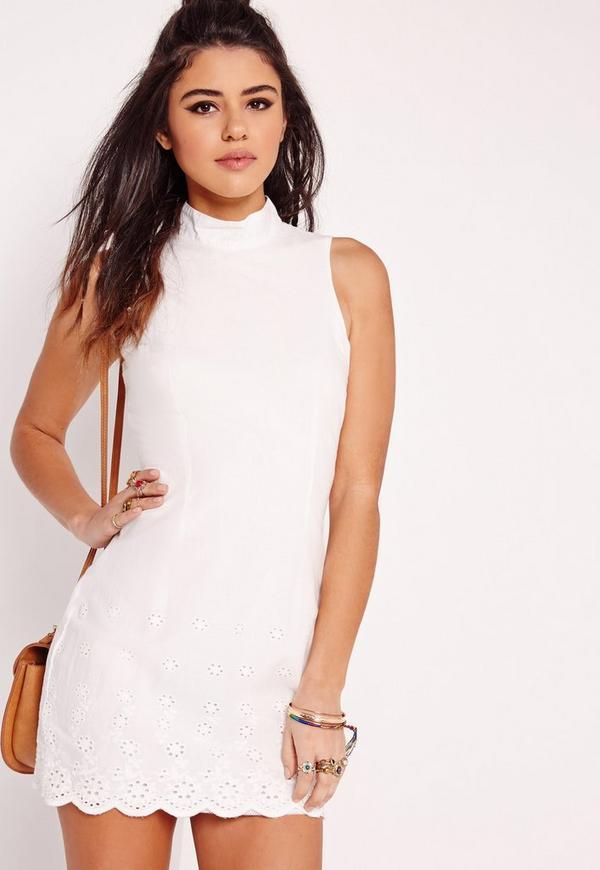 High Neck Embroidered Hem Dress White