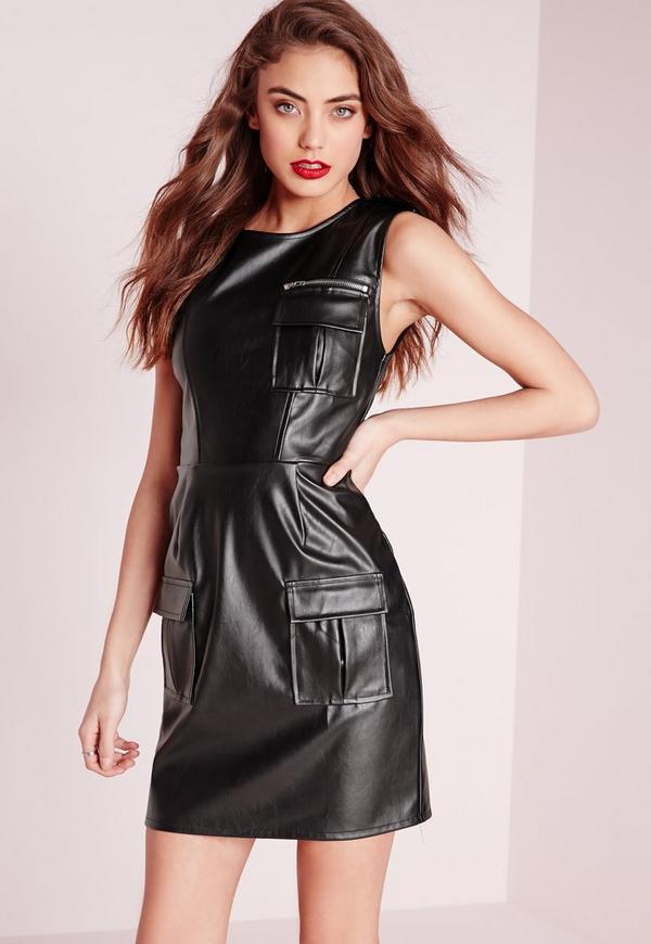 Sleeveless Faux Leather Pocket Front Bodycon Dress Black