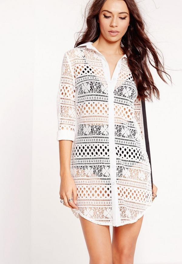 Long Sleeve Lace Shirt Dress White
