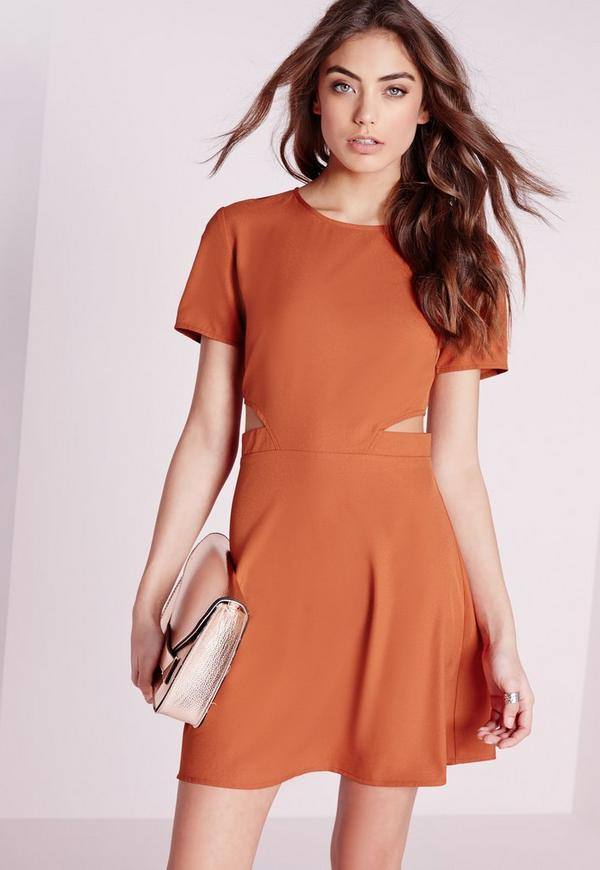 Short Sleeve Crepe Cut Out Waist Skater Dress Rust