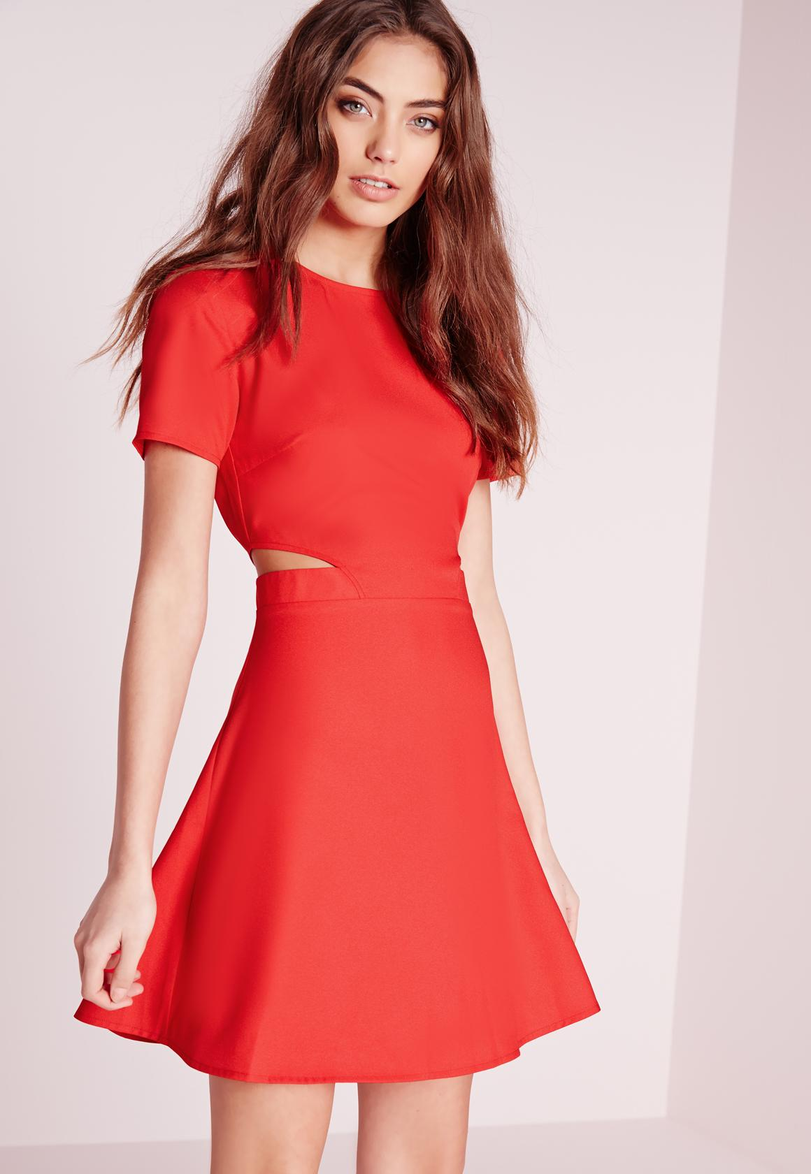 Short Sleeve Crepe Cut Out Waist Skater Dress Red  89bfbf915