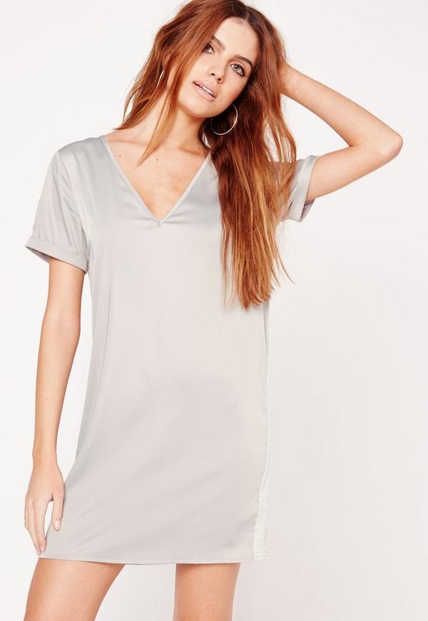 Contrast Silky Oversized T-Shirt Dress Grey