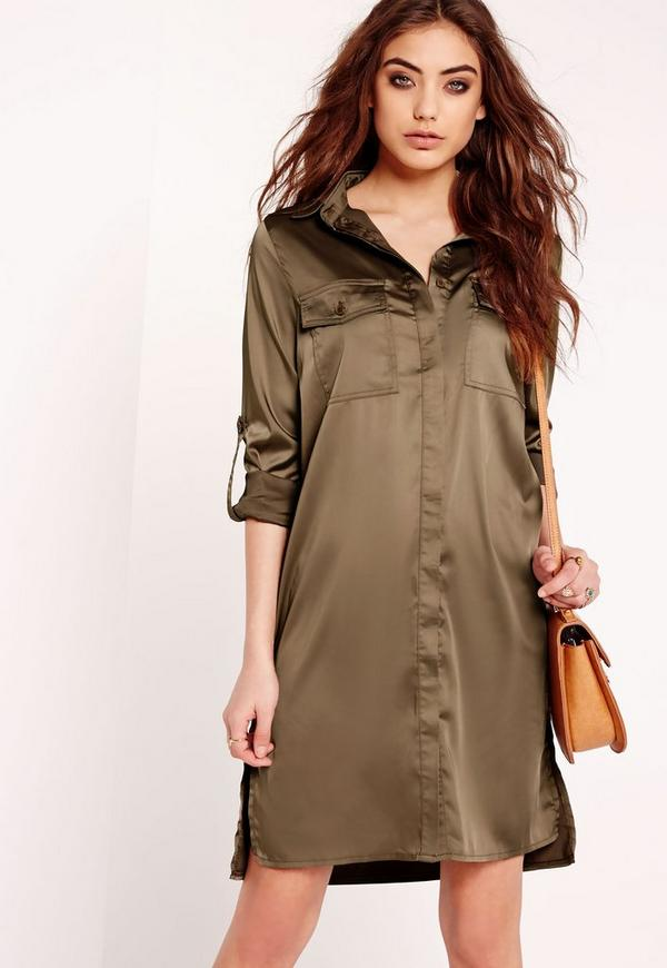 Long Sleeve Matte Shine Shirt Midi Dress Khaki
