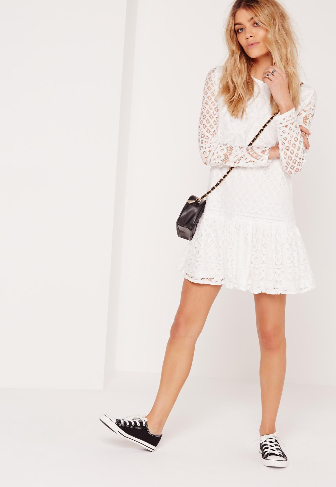 Missguided Lace Frill Long Sleeved Dress Sale Prices Free Shipping Pay With Paypal New Arrival For Sale Cheap Websites bNIeJiA