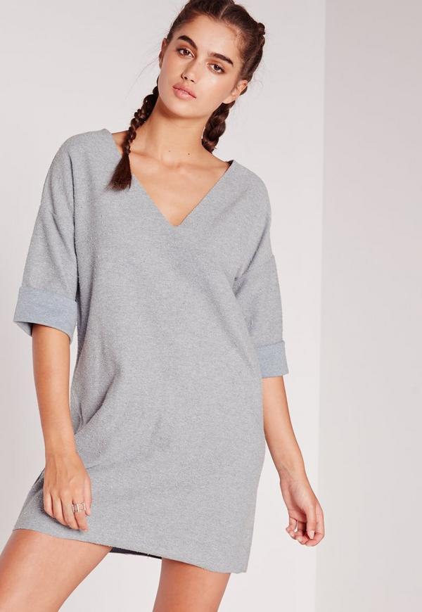 Short Sleeve Reverse Oversized T-Shirt Dress Blue