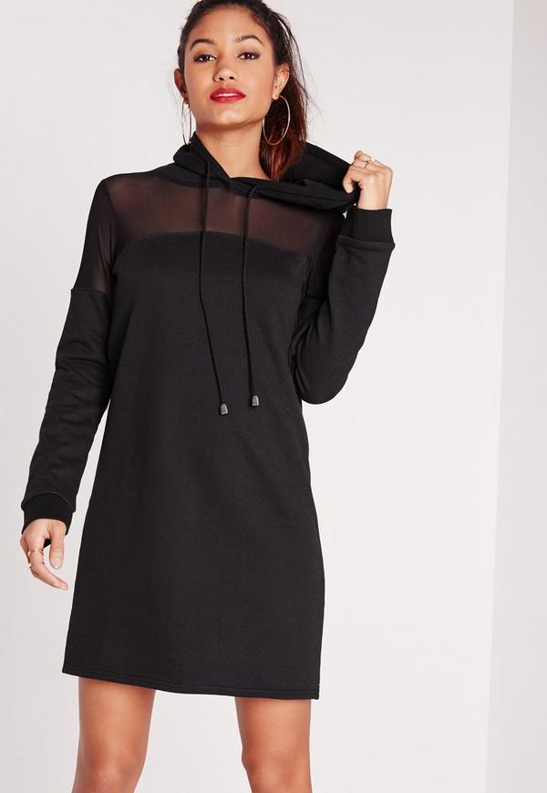 Hooded Mesh Insert Jumper Dress Black | Missguided