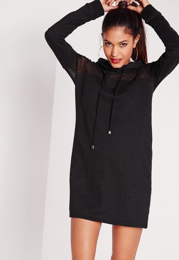 robe pull noire capuche et empi cement en tulle missguided. Black Bedroom Furniture Sets. Home Design Ideas