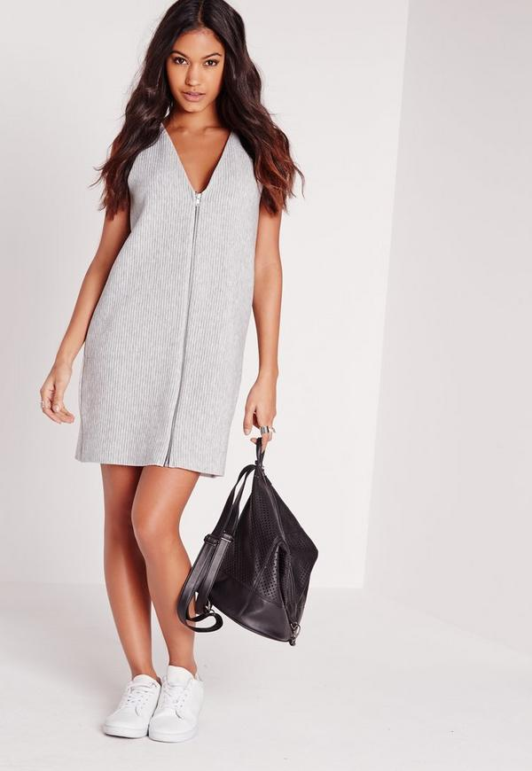 V Neck Sleeveless Zip Front Shift Dress Grey Rib