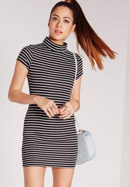 Short Sleeve High Neck Dress Black Stripe