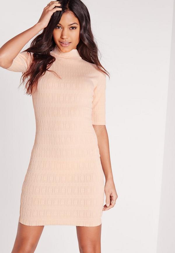 Short Sleeve Textured Dress Nude