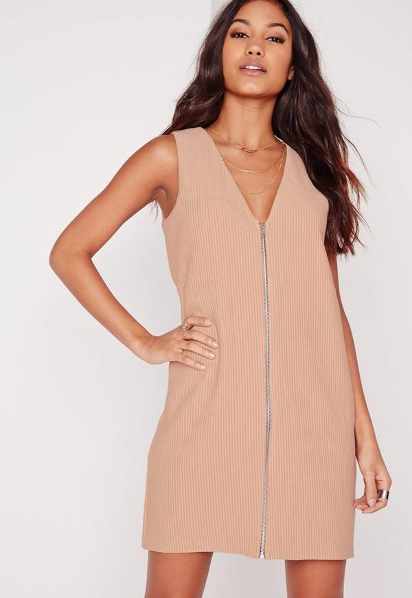 V Neck Sleeveless Zip Front Shift Dress Camel Rib