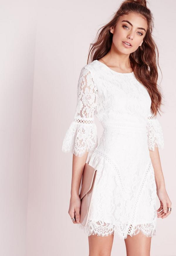 Flared Sleeved Lace A-Line Dress White