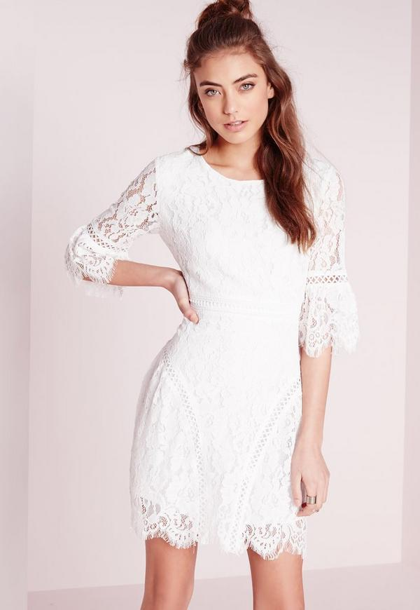 Flared Sleeved Lace A-Line Dress White | Missguided