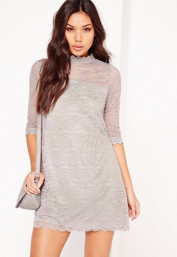 High Neck 3/4 Sleeve Lace Swing Dress Grey
