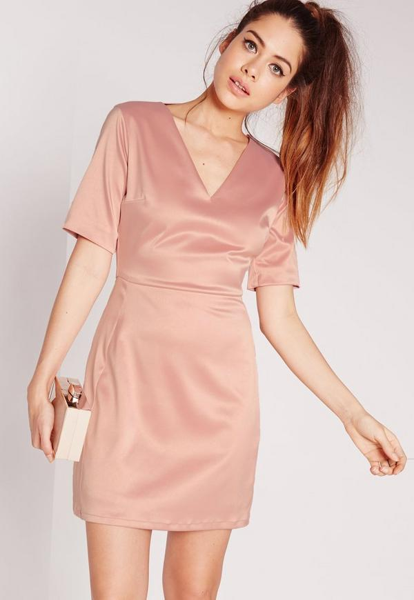 Short Sleeve Satin Cut Out Back Bodycon Dress Dusky Pink